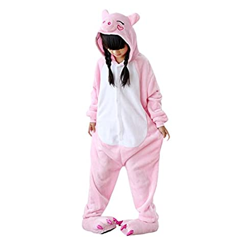 DarkCom Enfants Onesie Kigurumi Pyjama Animal Cosplay Costumes De Bande Dessinée Combinaison De Vêtements De Nuit Rose
