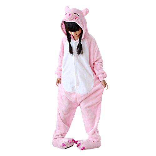 umi Strampelanzug Pyjamas Tier Cosplay Kostüme Cartoon Jumpsuit Nachtwäsche Rosa Schwein ()