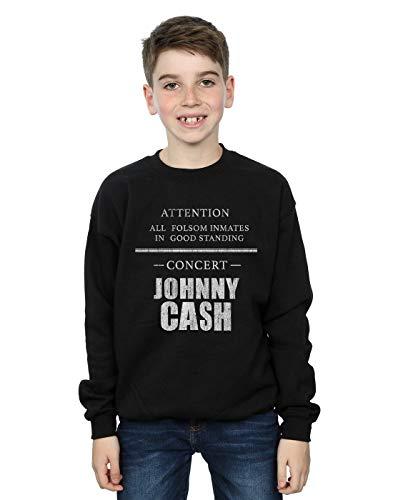 Absolute Cult Johnny Cash Jungen Folsom Concert Sweatshirt Schwarz 5-6 Years