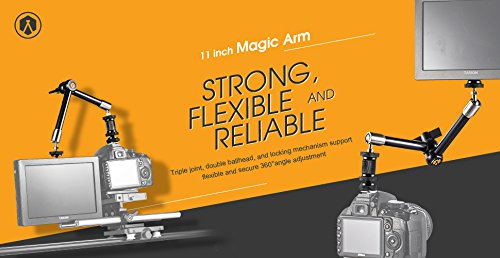 "TARION Edelstahl Video/ DSLR Gelenkarm magic arm 11\"" (ca.30cm ) für Monitor Videoleuchte Mikrophon, Nutzlast: 3 kg"