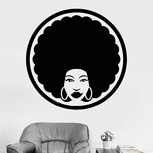 Black Vinyl Pants (42x42cm Vinyl Wall Decal Afro Friseur Black Lady Stickers Abnehmbarer Friseur Wand Decals Beauty Decor)