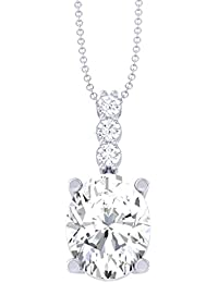 Clara 92.5 Sterling Silver White Gold Plated Oval Solitaire Pendant Chain Necklace For Women & Girls