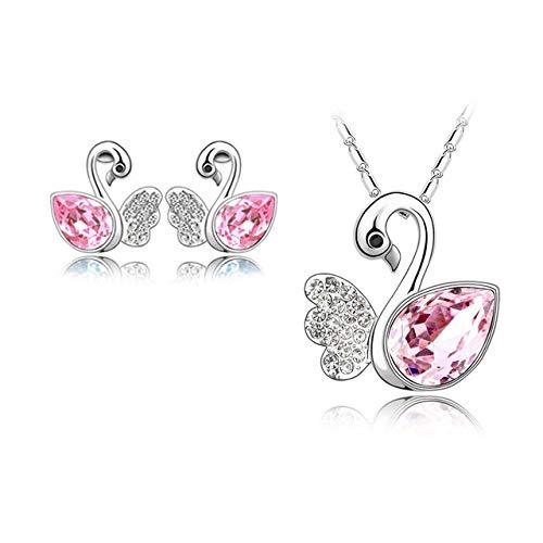 FUKAI Einfachen Schmuck Strass Kristall Lady's Swan Anhänger Halsketten Ohrring Schmuck Sets Exquisite Zubehör Hochzeit Geschenk -