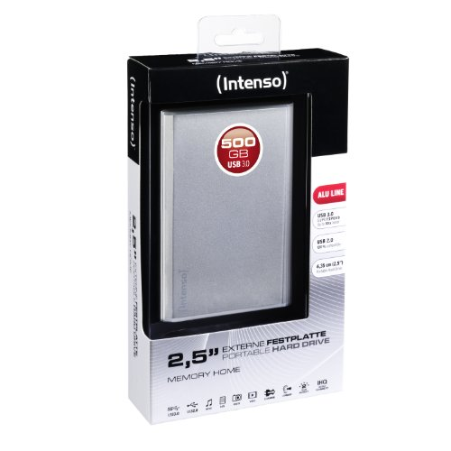 Intenso Memory 500GB Home externe Festplatte (6,4 cm (2,5 Zoll), 5400rpm, 8MB Cache, USB 3.0) silber