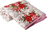 SWIYAM Polycotton Flower Printed Reversible Double Size Bed AC Blanket/Dohar for Home