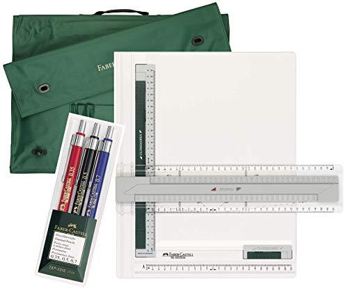 Faber-Castell Zeichenplatte TK-System A4 171274 + Tragetasche A4 175704 + 3erSet TK-FINE Druckbleistifte 130622