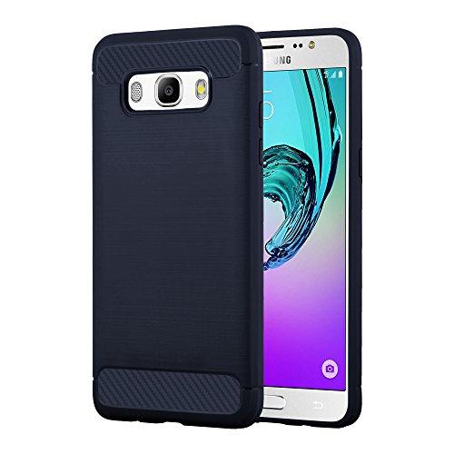 Preisvergleich Produktbild Cadorabo Hülle für Samsung Galaxy J5 2016 (6) - Hülle in Brushed BLAU – Handyhülle aus TPU Silikon in Edelstahl-Karbonfaser Optik - Silikonhülle Schutzhülle Ultra Slim Soft Back Cover Case Bumper
