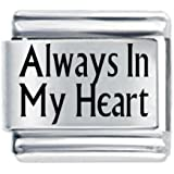Always in my Heart Etched Italian Charm - fits Nomination Classic Bracelet - exclusive to Amazon