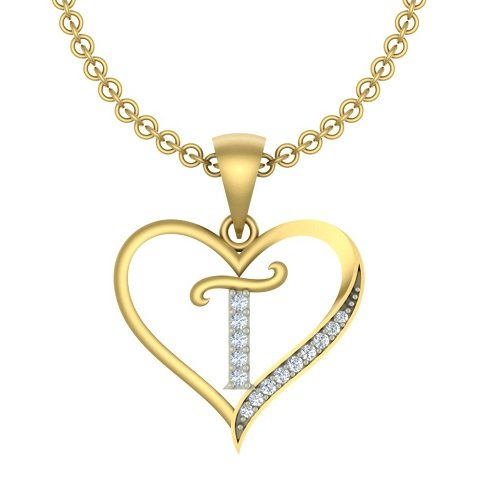 "Kanak Jewels Initial Letter ""T"" In Heart Shaped With Chain Gold Plated Cubic Zirconia Brass Pendant For Everyone"