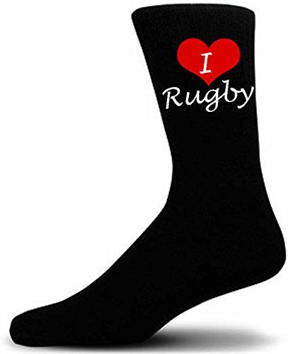 I Love Rugby Sports Novelty Socks. Black Luxury Cotton Sports Novelty Socks.