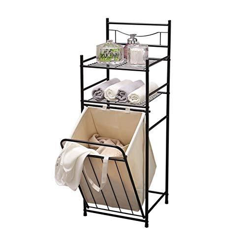 Wäschesammler Regal Große 3-Schicht Wäschesack Tabelle Lager Wanne Für Badezimmer Tabelle Lager Zusammenklappbar Wäschekorb Mit Herausnehmbaren Innenfutter-braun - 3 Regal-große Tabelle