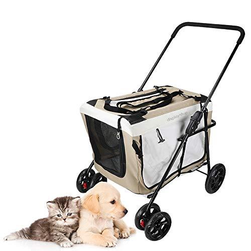 Display4top Pet Travel Cochecito Perro Gato Sillón Cochecito de niño Cochecito Buggy...