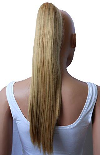 PRETTYSHOP 50cm Haarteil Zopf Pferdeschwanz glatt Haarverlängerung hitzebeständig wie Echthaar honig blond #27H22 H156