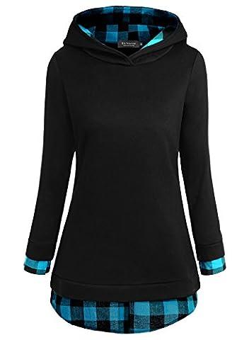 EA Selection Sweaters 2 en 1 Chemise Pullover chaud A Capuche Veste Femme Noir-Bleu XL