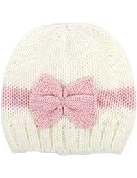 Naissance Ficony nouveau-né bébé garçon fille Bowknot Bonnet Casquette  d hiver en tricot Chapeau Photographie… b971c958ade