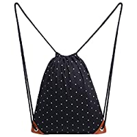 Cosyres Polka Dot Drawstring Backpack Gym Sport PE Bags for Women/Girls Canvas with Pockets Black