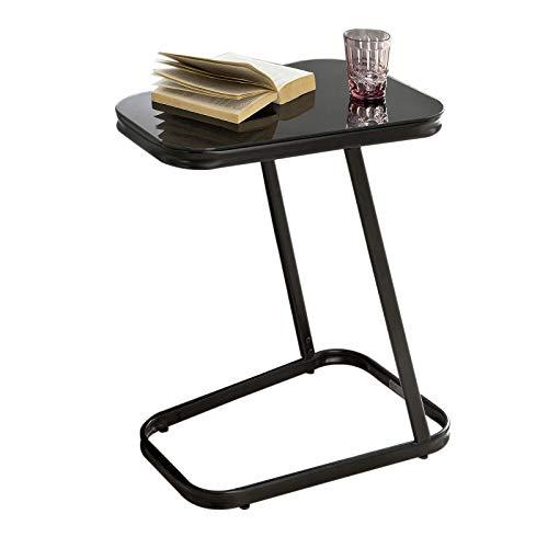 SoBuy® FBT43-Sch Table d'Appoint Moderne Table Basse Bout de canapé à café en métal et Verre trempé– Noir