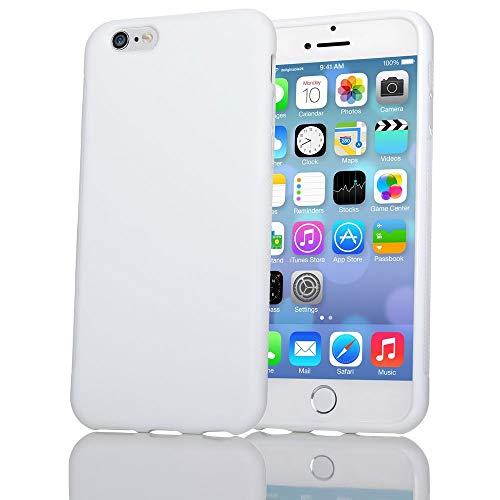 NALIA Handyhülle kompatibel mit iPhone 6 6S, Ultra-Slim Silikon Case Cover Gummihülle, Matte Anti-Rutsch Schutz-Hülle Dünn, Etui Handy-Tasche Telefon-Schale Thin Back-Cover Smart-Phone Bumper - Weiß (Apple Iphone6 Silikonhülle)