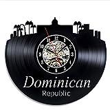 YNMB KS Reloj de Pared de vinilos Diseño Moderno República Dominicana Relojes Salón Vintage Retro Reloj de Pared Decoracion Silent 12 pulg.