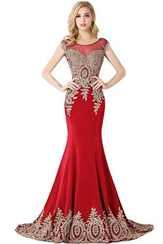 MisShow Damen Ärmellos Lange Abendkleid Ballkleider Festlich Meerjungfrau Abschlusskleid Rot Gr.34