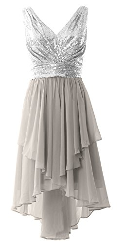MACloth Women V Neck Sequin High Low Bridesmaid Dress Wedding Party Formal Gown (EU36, Silver)