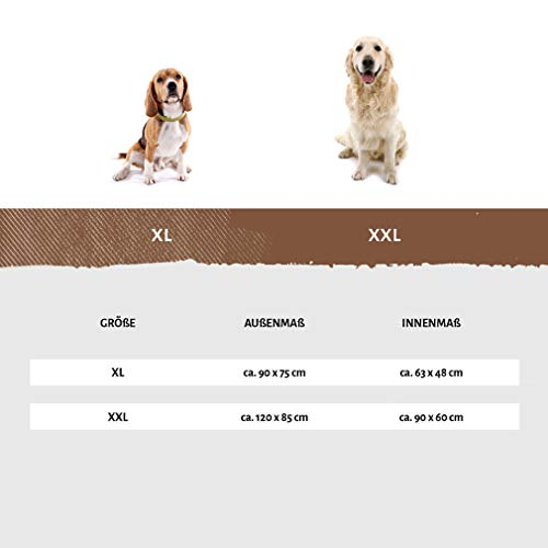 Knuffelwuff 13981-003 Bedrucktes, wasserfestes In und Outdoor Hundebett, Hundekissen, Hundesofa, Hundekorb, Mika, 120 x 85 cm, XXL, braun - 4