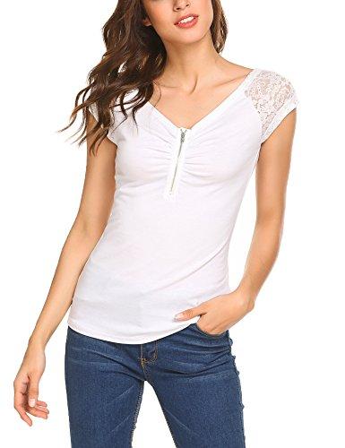 9b10e1385dd3f5 Beyove Damen Sexy V-Ausschnitt Wickelshirt Kurzarm Langarm Slim Fit Shirt  Bluse Obertail mit