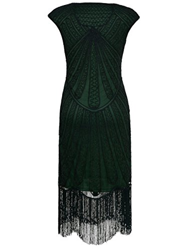 PrettyGuide Damen 1920er CocktailKleid Perlen Art Deco Flapper Charleston Kleid XL Grün - 2