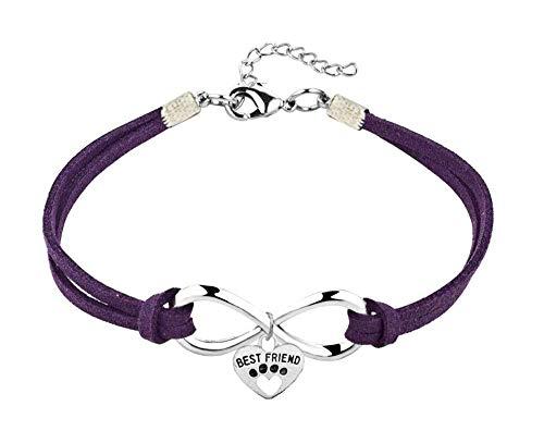 Imagen de pulsera  best friends  pulsera  animales  patas  colgante  corazón  gatos  infinito  perros  colorido  hombre  mujer  unisex  joyas violeta