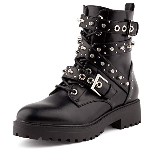 Fusskleidung Damen Stiefeletten Biker Boots Nieten Booties Strass Stiefel Schuhe Schwarz EU 39