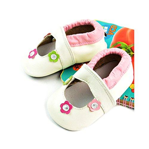 FYGOOD Chaussures Souples Bébé Chaussons Enfant Unisex en cuir Doux fleur rose S:0-6mois/longueur intérieur:11CM Blanche