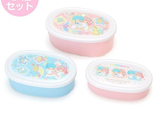 3 Piece Little Twin Stars Lunch Case Container Set Rainbow (Set Twin Star)
