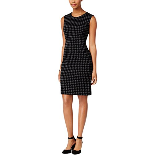 Tommy Hilfiger $134 Womens New 1304 Black Houndstooth Shift Dress Plus 18 B+B Houndstooth Shift
