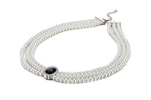 Halskette mit schwarzer Perle und Kristall, 3 Stränge mit künstlichen Perlen
