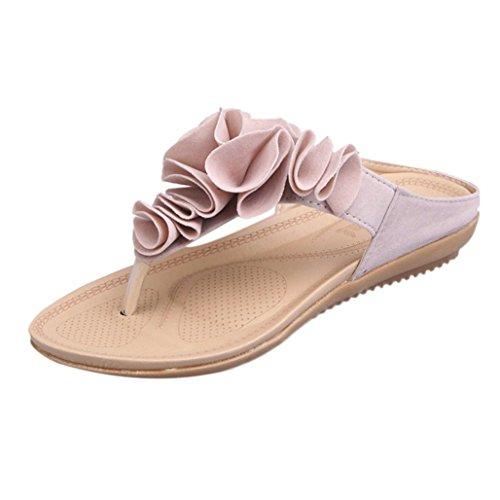 VENMO Frauen Strand Flip-Flops Lässige flache Schuhe Ziemlich Floral Sandalen Böhmen Sandalen Gladiator Sandalen Wohnungen Schuhe Pom-Pom Flip Flops Strandschuhe Kreuzgurt Badeschuhe (Size 38, Pink)