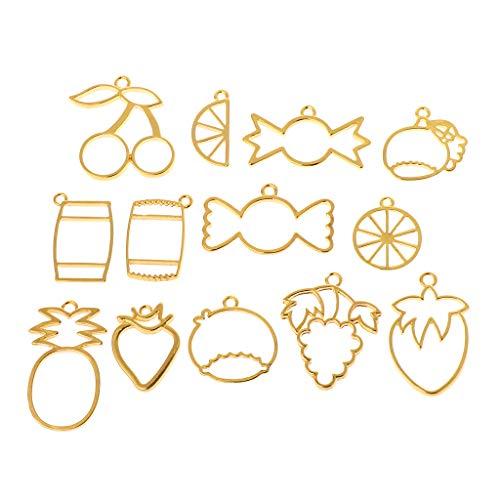 tz Obst Süßigkeiten Rahmen DIY Epoxidharz Handwerk Anhänger Schmuck Machen Halskette Halter UV Harz Charme Erkenntnisse Kreative Ananas Erdbeer Metallrahmen ()