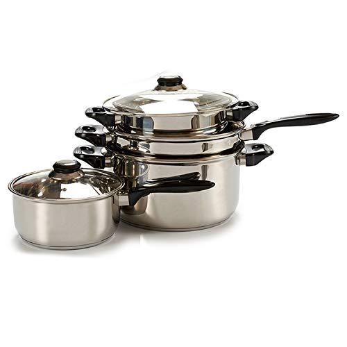 Tendenza unica batteria da cucina in acciaio inossidabile da 7pezzi adatta per tutte le cucine. composto da 1casseruola e 3pentole con coperchio in vetro con foro per vapore