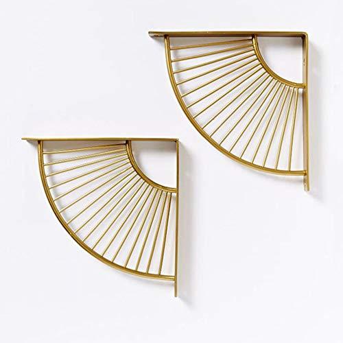 Shelf bracket SZXD Wandregal Unterstützung Gold Eckablage Halterung Metall Dicke Eisen dekoratives Dreieck Regal anzeigen Wohnzimmer, Küche 2Pcs -