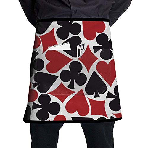 Chef Baker Square (MSGDF Poker Heart Square Pattern Waitress Apron - Durable Polyester Waist Bib Apron with Pockets Long Ties Extra Coverage Commercial Grade Server Aprons Comfortable Half Apron)