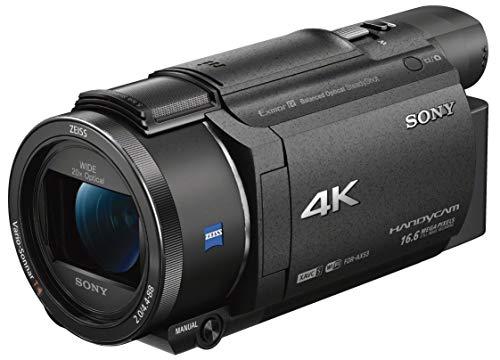 Sony fdr-ax53 videocamera handycam 4k ultra hd, sensore cmos exmor r da 7.2 mm retroilluminato, obiettivo grandangolare zeiss vario-sonnar t* da 26.8 mm con zoom ottico 20x, nero
