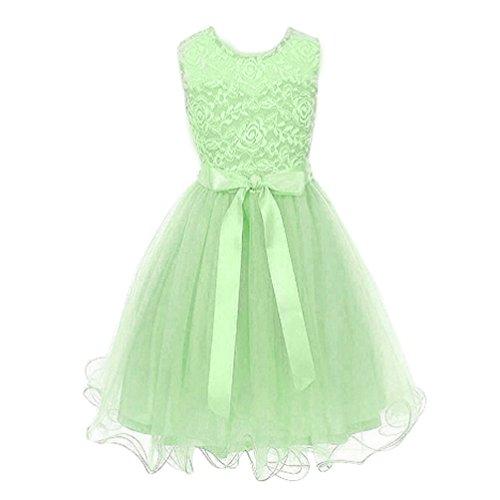 WanYang Mädchen Chiffon Sommerkleid Prinzessin Kleid Kinder Kleiden Kostüme  Ärmellos Runder Ausschnitt Kleid Grün