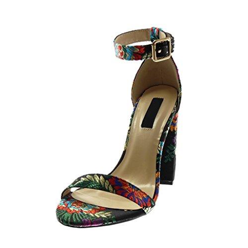 Angkorly Scarpe Moda Sandali Scarpe Decollete con Cinturino Alla Caviglia Donna Fiori Ricamo Fantasia Tacco a Blocco Alto 11 cm Nero