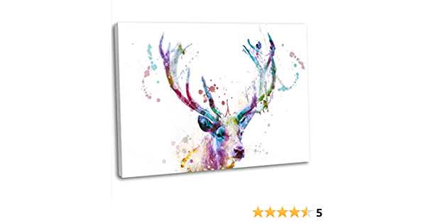 Colourful Stag Abstract Watercolour Canvas Art Print Framed Animal Picture 76x51cm 30x20inch Amazon Co Uk Kitchen Home