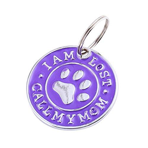 JKRTR Haustier Dekoration 2019,Hundekatze Identifikations-Namensschilder Haustier-Strass-Halskette(Lila,Durchmesser 32mm)