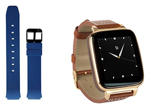 Bit Smart Watch for Apple/Android devices. Gold with leather strap. Bonus navy...