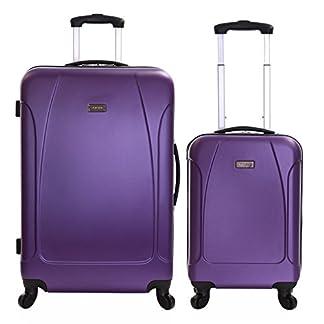 Karabar-2er-Koffer-Set-Trolley-Set-ABS-Rollkoffer-Hartschalen-Koffer-Reisekoffer-Groe-XL-und-Handgepck-Gepck-mit-4-Rollen-Evora