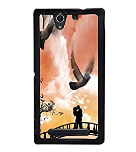 Fuson Premium 2D Back Case Cover I love you pattern With Multi Background Degined For Sony Xperia C3 Dual D2502::Sony Xperia C3 D2533