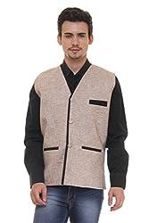 Routeen Beige Casual Partywear V Neck Waistcoat Linen Jackets for Men