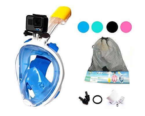 ecofun Schnorchelmaske für Erwachsene, Kinder und Jugendliche - Tauchermaske Vollgesichtsmaske für mit Anti-Fog und Anti-Leck Technologie, 180 Grad Panoramablickfeld und GoPro-Halterung -