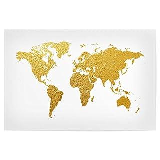 artboxONE Poster 30x20 cm Reise World Map Gold Hochwertiger Design Kunstdruck - Bild Reise von Michael Tompsett